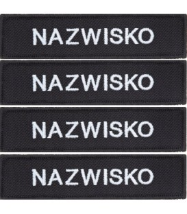 ZESTAW Name patch Nazwisko CZARNE x 4 szt.